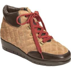 Women's Aerosoles First Plan Quilted Suede Wedge Ankle Boot Dark Brown Combo