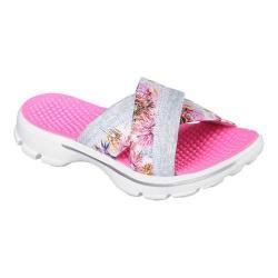 Women's Skechers GOwalk 3 Fiji Slide Sandal White/Multi