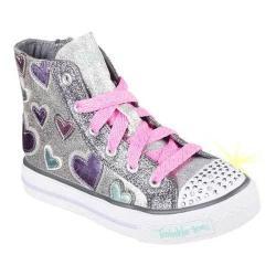 Girls' Skechers Twinkle Toes Shuffles Starlet Pose High Top Silver/Multi