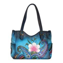 Women's ANNA by Anuschka Hand Painted Medium Shoulder Bag 8065 Denim Paisley Floral