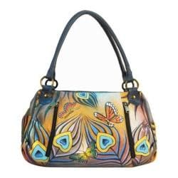 Women's ANNA by Anuschka Hand Painted Ruched Large Satchel 8064 Flying Peacock