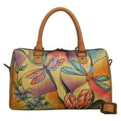 Women's ANNA by Anuschka Large Zip Around Satchel 8039 Dragonfly Glass Painting