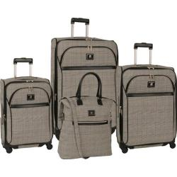 Women's Anne Klein Calgary 4-Piece Luggage Set Black/White/Burgundy Red Plaid