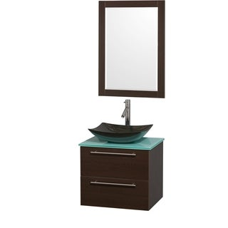Wyndham Collection Amare 24-inch Espresso/ Green Glass Single Vanity with Mirror