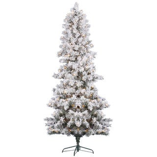 7-foot x 45-inch Flocked White Pine Tree 450 Clear
