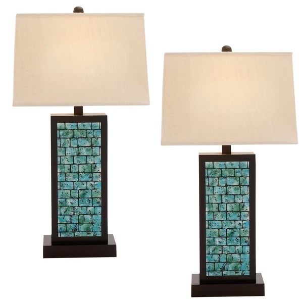 Casa Cortes Lush Mosaic Art Glass 25 Inch Table Lamps Set Of 2
