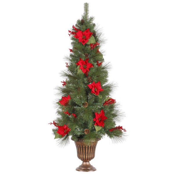 5-foot x 30-inch Poinsettia Berry Tree 150 Clear