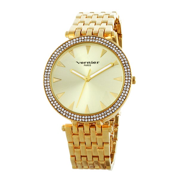 Vernier Paris Women's 7 Link Crystal Bezel Goldtone Bracelet Watch