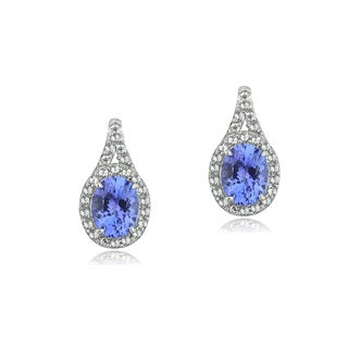 Glitzy Rocks Sterling Silver Tanzanite and Topaz Oval Earrings