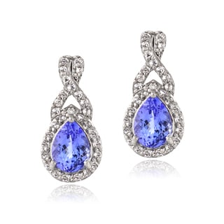 Glitzy Rocks Sterling Silver Tanzanite and Topaz Earrings