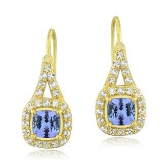 Glitzy Rocks Gold Over Silver Tanzanite and Topaz Earrings