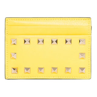 Valentino 'Rockstud' Yellow Leather Card Case