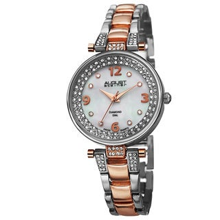 August Steiner Women's AST8137TTR Swiss Quartz Genuine Diamond Markers Bracelet Watch