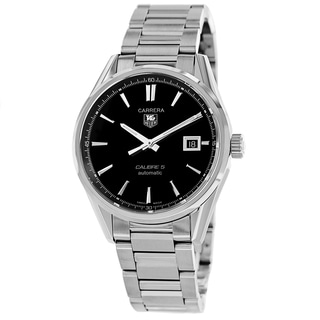 Tag Heuer Men's WAR211A.BA0782 'Carrera' Black Dial Date Stainless Steel Watch