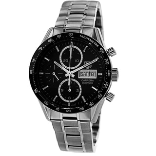 Tag Heuer Men's CV201AG.BA0725 'Carrera' Black Dial Stainless Steel Chronograph Watch
