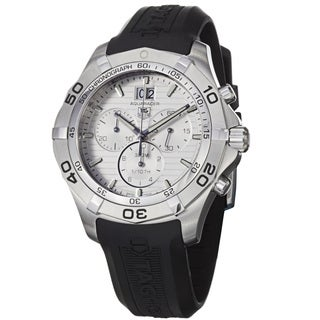 Tag Heuer Men's CAF101F.FT8011 '2000 Aquaracer' Silver Dial Black Rubber Strap Chronograph Watch
