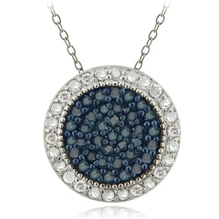 DB Designs Sterling Silver 1/2ct TDW Blue and White Diamond Circle Necklace (G-H, I2-I3)