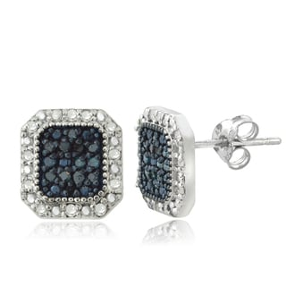 DB Designs Sterling Silver 1/2ct TDW Blue and White Diamond Square Stud Earrings (I-J, I2-I3)
