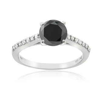 DB Designs Sterling Silver 1 1/7ct TDW Black and White Diamond Solitaire Ring (G-H, I2-I3)