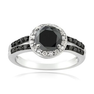 DB Designs Sterling Silver 1 1/4ct TDW Black and White Diamond Solitaire Ring (G-H, I2-I3)