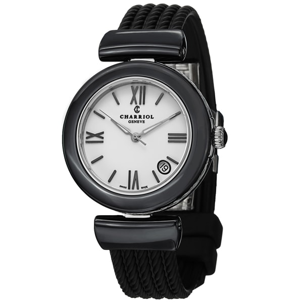 Charriol Women's AE33CB.173.004 'AEL' White Dial Black Rubber Strap Watch