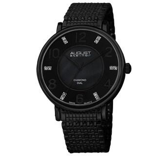 August Steiner Men's Ultra-Thin Swiss Quartz Mother of Pearl Diamond Dial Bracelet Watch