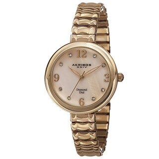 Akribos XXIV Women's Quartz Genuine Diamond Markers Expandable Bracelet Watch