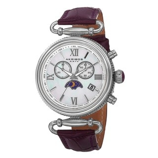 Akribos XXIV Women's Swiss Quartz Chronograph Genuine Leather Strap Watch