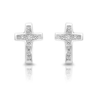 Sterling Essentials Silver Cubic Zirconia Petite Cross Stud Earrings