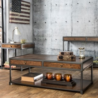 Furniture of America Thorne Antique Oak Industrial Accent Table Set