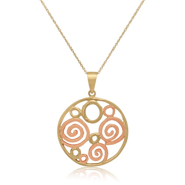 Gioelli Sterling Silver Goldplated Round Pendant Necklace