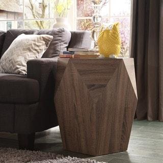 Hatteras Irregular Modern Woodblock End Table