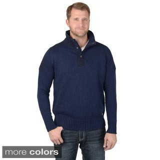 Vance Co. Men's High Collar Button Neck Long Sleeve Sweater
