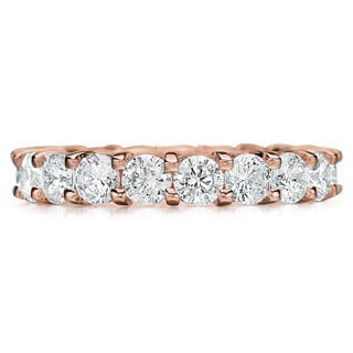 Amore 14k or 18k Rose Gold 3ct TDW Diamond Wedding Band (G-H, SI1-SI2)