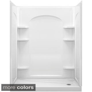 Ensemble White 2-piece Tongue and Groove Shower Endwall