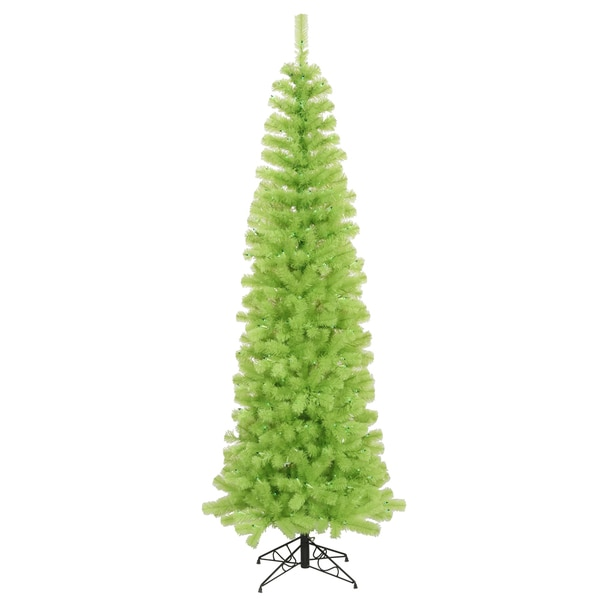 6.5-foot x 27-inch Chartreuse Pencil Tree with 300 Green Lights, 587 Tips