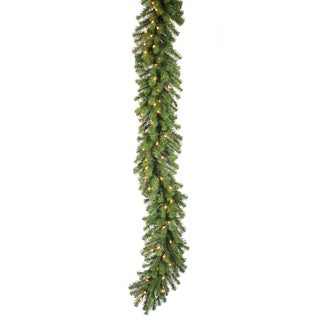 9-foot x 12-inch Douglas Garland Dura-Lit with 50 Clear Lights, 240 Tips