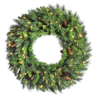 30-inch Cheyenne Pine Wreath Dura-Lit with 50 Clear Lights