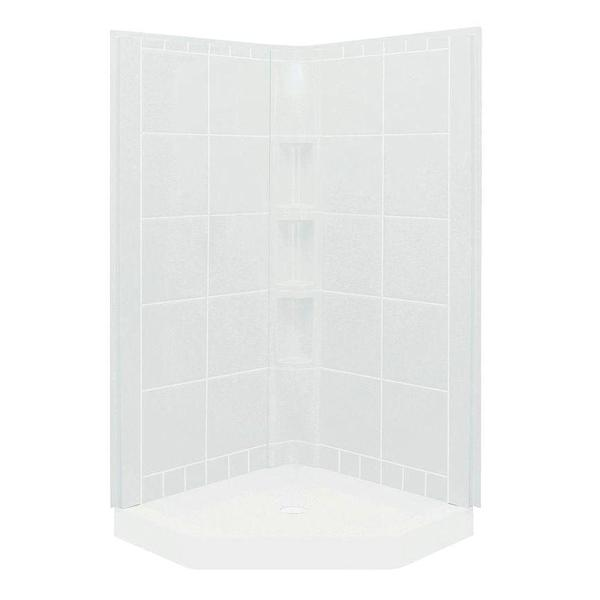 Intrigue 3-piece White Direct-to-Stud Shower Wall Set
