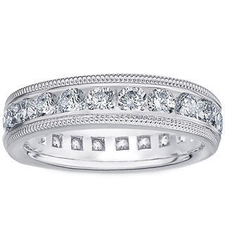 Amore Platinum 2ct TDW Milligrain Edge Diamond Wedding Band (G-H, SI1-SI2)