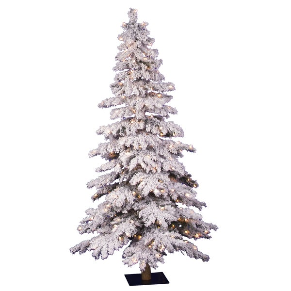 4-foot x 29-inch Flocked Spruce Dura-Lit Tree with 150 Clear Lights, 358 Tips