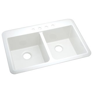 Slope Self-Rimming 4-hole Double Bowl White Kitchen Sink