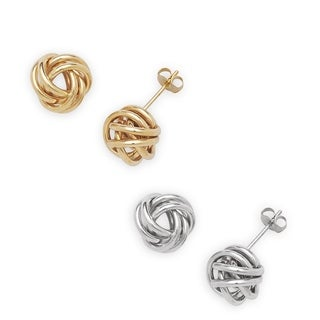 14k Gold 10mm Wire Love Knot Stud Earrings