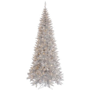 10-foot x 50-inch Tinsel Silver Slim Fir with 900 Clear Lights