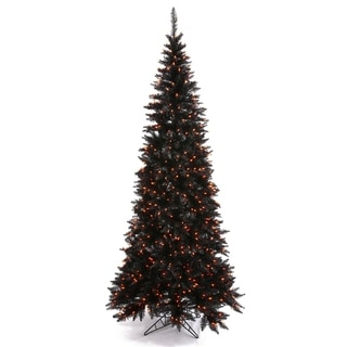 7.5-foot x 40-inch Black Slim Fir with 500 Orange Lights, 1238 Tips