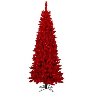 9-foot x 48-inch Flocked Red Tree with 650 Red Lights, 1651 Tips