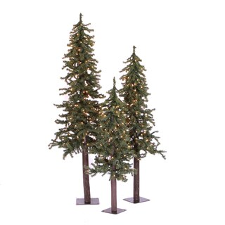 2-foot 3-foot 4-foot Natural Triple Alpine Set with 185 Multicolored Lights
