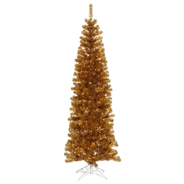 7.5-foot x 34-inch Ant Gold Pencil Tree with 400 Clear Lights, 803 Tips