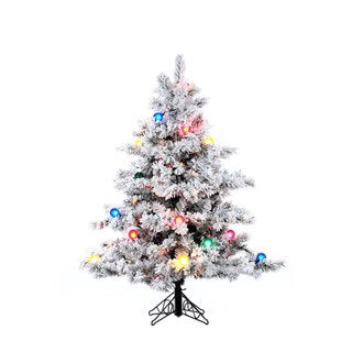 4.5-foot Flocked Alaskan Pine Christmas Tree
