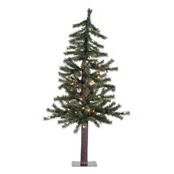3-foot x 22.5-inch Natural Alpine Tree with 70 Clear Lights